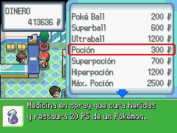 Comprando en una tienda Pokémon en DP