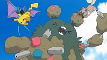 EP967 Pikachu y Rockruff usando ataque rápido y mordisco respectívamente