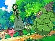 EP499 Cheryl junto a sus Pokémon