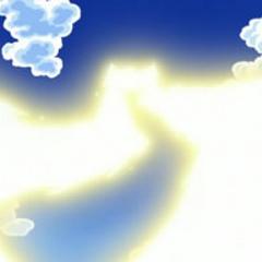...que lanza al cielo en forma de rayos...