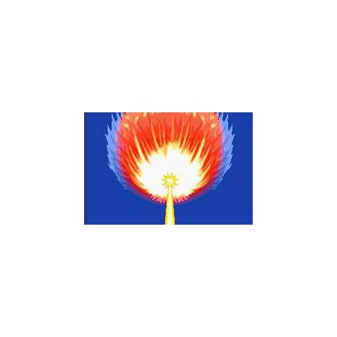 Hiperrayo de Rayquaza, destruyendo el meteorito, en <a href=