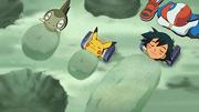 EP663 Ash Pikachu e Axew disfrutando