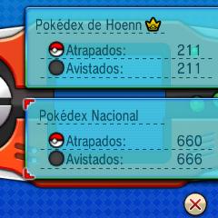 Imagen de la Pokédex por fuera. Se puede apreciar como la Pokédex diferencia entre Pokémon avistados y capturados.