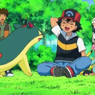 Quilava junto a sus compañeros Pokémon y personas.