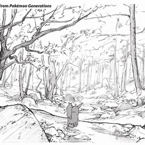 Concept Art de Pokémon Generaciones del Bosque Verde.