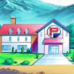 Centro Pokémon de ladrillo en un camino.