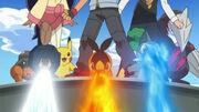 EP710 Pokémon usando ataques