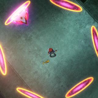 ...juntando así sus 6 anillos alrededor de Ash, Pikachu y Hoopa...