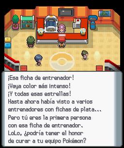 Primera vez con ficha dorada en un centro Pokémon (DP)