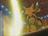 EP022 Kadabra de sabrina usando usando confusion para desviar el rayo de Pikachu