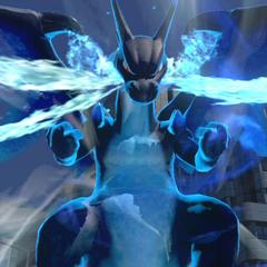 Charizard convertido en Mega-Charizard X durante su estado especial.