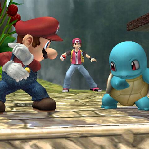 Squirtle de entrenador luchando contra Mario.