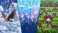 P14 Pokémon en aire, agua y tierra