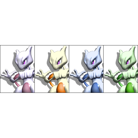 Paleta de colores de Mewtwo en Super Smash Bros. Melee