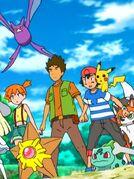 Crobat de Brock, Staryu de Misty, Lycanroc de Ash, Pikachu de Ash y Bulbasaur de Ash juntos