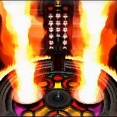 Kalm en un salón con dos rafagas de fuego, posiblemente, una sala del <a href=