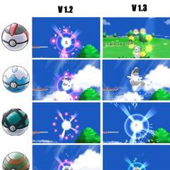 Animaciones de las Poké Balls y sus diferencias según la versión del juego. Haz click en la imagen para verla mejor.