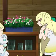 Lusamine/Samina encontrándose con Lillie/Lylia.