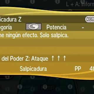 Salpicadura Z sube el ataque del usuario en 3 niveles