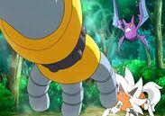 Crobat usando Supersonico para ayudar al Lycanroc de Ash