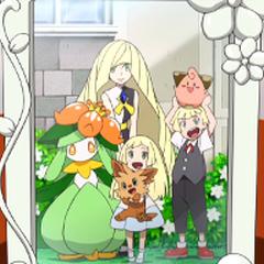 Foto de Lillie/Lylia junto a su familia.