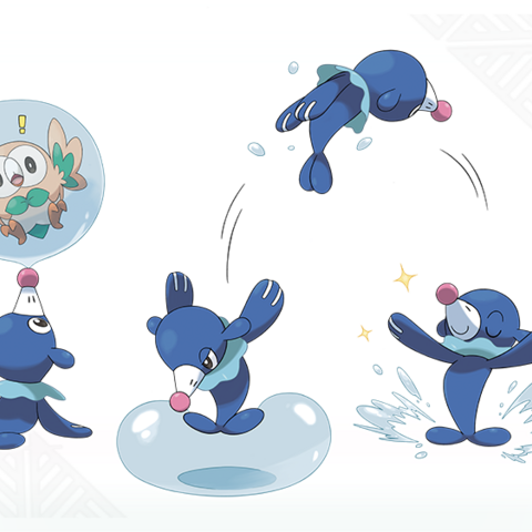 Varios artworks de Popplio.