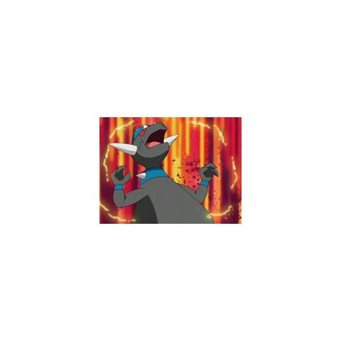 Sin embargo, gracias a su habilidad rompemoldes, Rampardos se libera de electricidad estática.