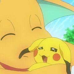 Dragonite abrazándose con el <a href=