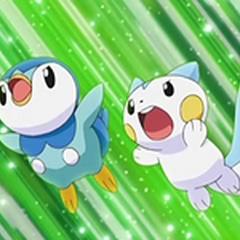 Piplup y Pachirisu preparándose para atacar.