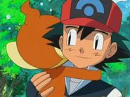 EP522 Chimchar abrazando a Ash