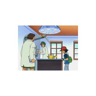 Joshua activando el aparato para intentar absorber la energía retenida de Pikachu.