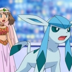 Glaceon junto a May/Aura.