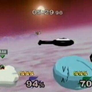 Unown siendo un globo en el escenario Poké Globos de SSBM.