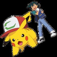 Pikachu con gorra P20 y Ash