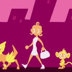 Lucy paseando junto con su <a href=