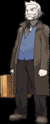"""Ilustración del profesor Serbal en <a href=""""/wiki/Pok%C3%A9mon_Diamante_y_Perla"""" title=""""Pokémon Diamante y Perla"""" class=""""mw-redirect"""">Diamante y Perla</a>"""