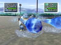 Blastoise usando hidrobomba pokemon stadium