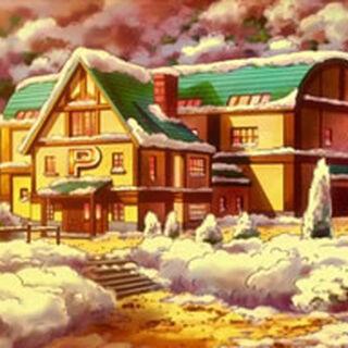 Centro Pokémon de Shelter/Refugio con nieve en el tejado y alrededor.