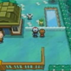 Imagen donde aparece un nuevo Pokémon en un edificio, puede ser la guardería.