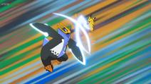 EP1085 Empelon usando Garra metal y Pikachu usando Cola férrea
