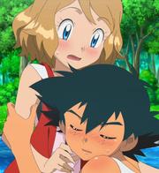 EP918 Ash abrazando a Serena