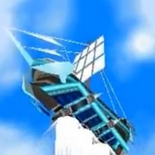 La fragata alzándose en el aire mediante propulsión a chorro, usando el poder de Kyurem.