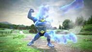 Machamp atacando con varios puñetazos Pokkén Tournament