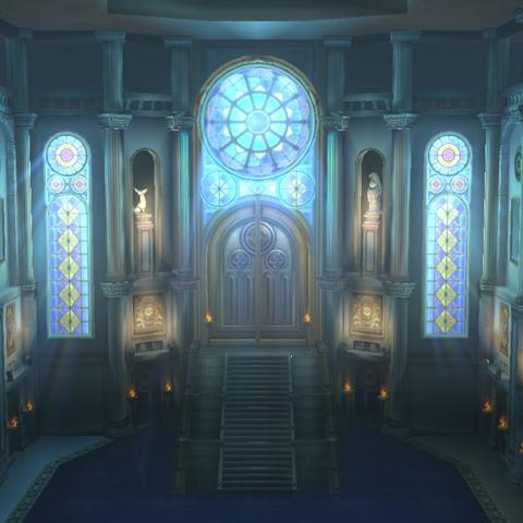 Sala principal de la Liga Pokémon de Kalos.