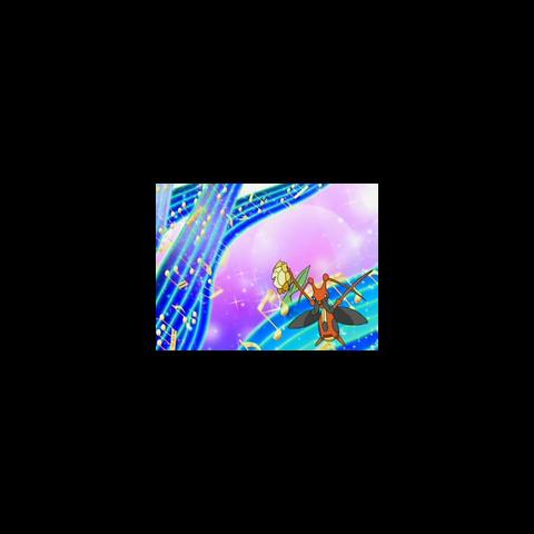 Unas filas de notas musicales salen al escenario junto a los Pokémon.