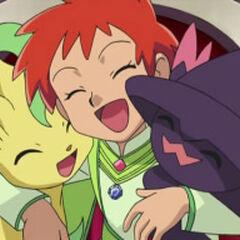 Zoey/Zoe junto a Leafeon y a Mismagius después de haberle ganado a <a href=