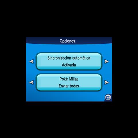 Elegir cómo enviar las Poké millas a Pokémon Global Link desde sincronizar juego.
