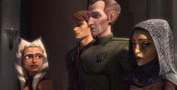 Tarkin con Anakin viendo a Ahsoka y Barriss para arrestar a Una
