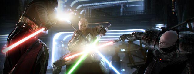 Archivo:Jedi Master versus two Sith.jpg