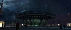 Senate Plaza by night